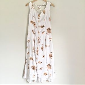 VINTAGE 90S white & tan rose cross back maxi dress